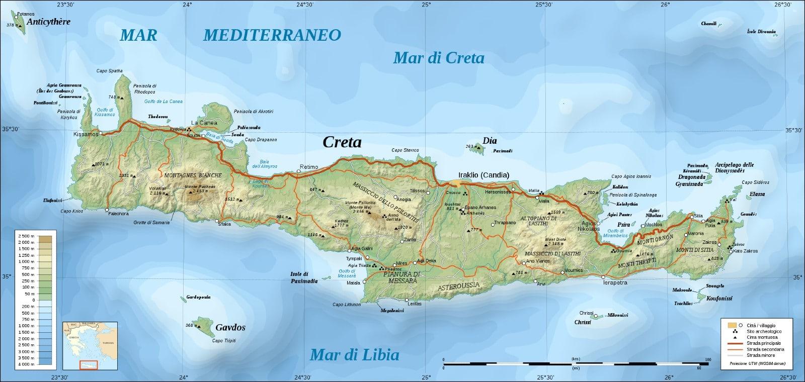 Cartina Geografica Dell Isola Di Creta.Mappa Di Creta Cartina Interattiva E Download Mappe In Pdf Grecia Info